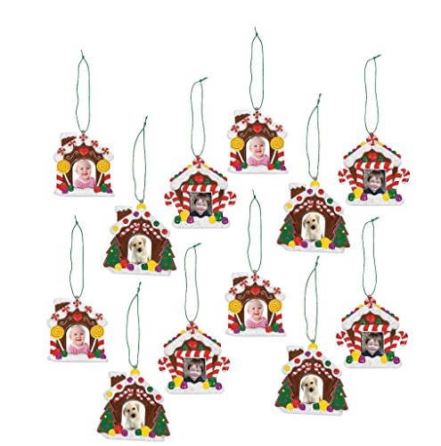 Gingerbread House Photo Ornaments, 12 Count (Photos Tree Xmas)