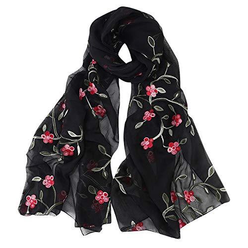 (DEATU Hijab Scarfs for Women, Clearance Ladies Embroidery Chiffon Wrap Shawls Headband Muslim Scarf(E))