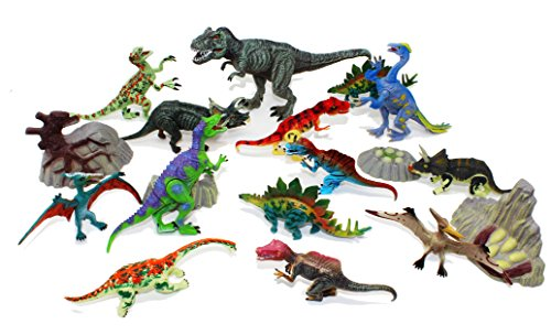 "Joyin Toy 18 Pieces 6"" to 9"" Educational Realistic Dinosaur Figures with Movable Jaws Including T-rex, triceratops, velociraptor, etc"