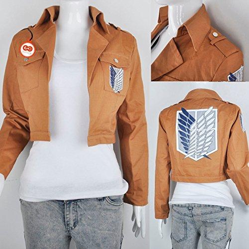 SYMTOP L'Attaque des Titans Costume pour Déguisement Cosplay Corps Revival Lieutenant Manteau de Veste avec Broderie (S)