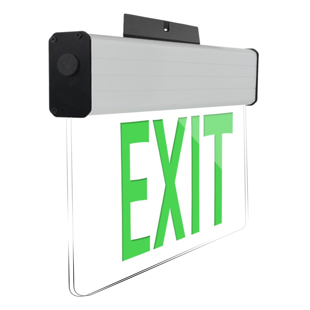 eTopLighting [1 Pack] Edge Lit Exit Sign LED Light Panel, Green Lettering, Battery Backup, Transparent See Through, Mount on Wall and Ceiling, Rotary Surface Mounting, AGG2133 by eTopLighting (Image #4)
