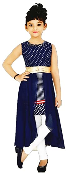 f8d76f621d92 Image Unavailable. Image not available for. Colour  Blue Stylist Long Cape  Top Dress With White Leggings For Girls
