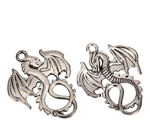 5 x Dragon Charms 30x22mm Antique Silver Tone for Bracelets Necklace Earrings #MCZ200