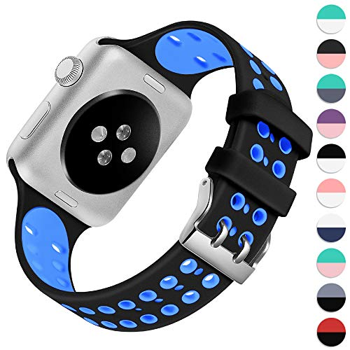 KOLEK Band Compatible with Apple Watch 42mm / 44mm, Soft Durable Silicone Sport Replacement Strap for iWatch Series 4/3/2/1 with Eco-Friendly Materials, Black/Blue