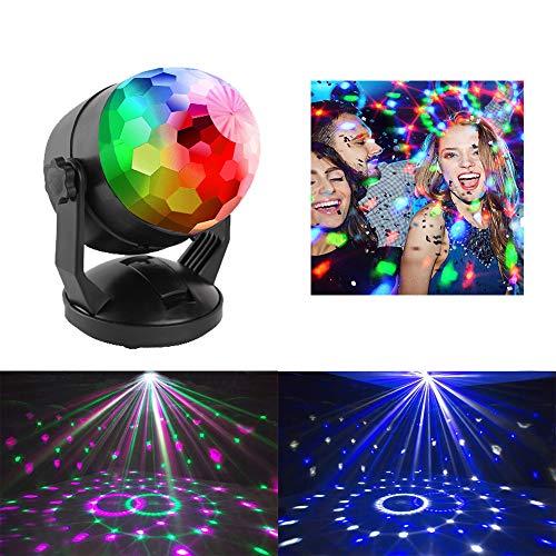 ENUOLI Car Music Rhythm lamp led Flashing DJ Atmosphere Light Small Magic Ball Spotlight Disco Ball Strobe Lamp Battery Powered/USB Plug in Portable 7 Color RBG Rotating Sound Activated Party Lights (Green Led Sound Activated Light)