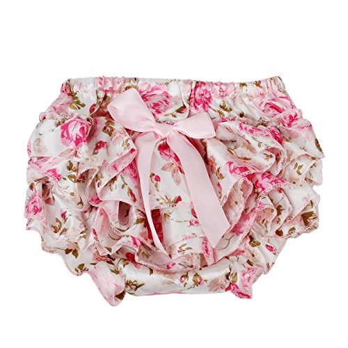 WINOMO Baby Girl Bloomers Diaper Cover Pink Floral Bowknot Ruffle Pants Size S