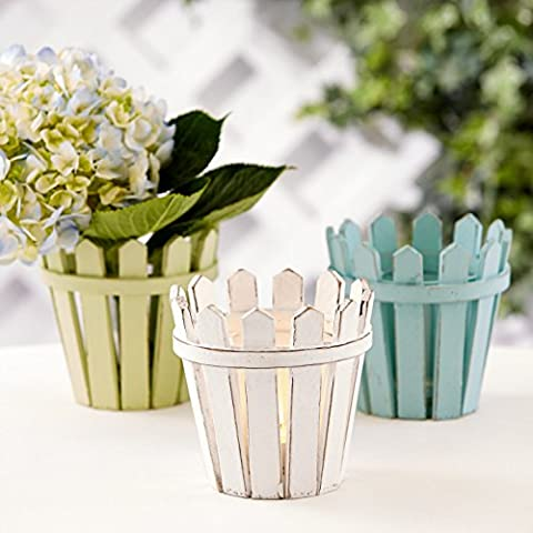 Nantucket Picket Fence Tealight Candle Holder / Vase Set of 3 (Patio Pickets)