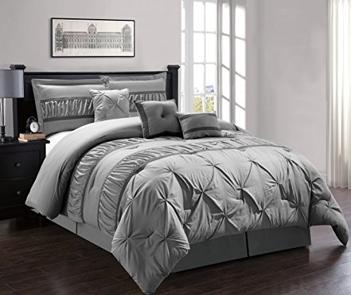 7 Pieces Luxury Solid Grey Pinch Pleat Stripe Comforter Set