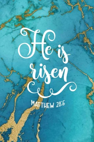He is Risen Matthew 28:6: Easter Marble Bullet Journal, Biblical Verse Blue Gold Marble with Aqua Hues, Marble Agate Scripture Notebook Journal, 120 ... Gift for Teens, Men, Easter Gift for Women Artful Paper Press
