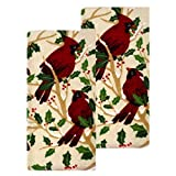 cardinal kitchen - St. Nicholas Square Christmas Kitchen Dish Towels 100% Cotton Red Cardinal Holiday Print - Set of 2