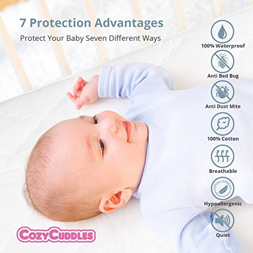 "COZYCUDDLES Premium Zippered Quilted Waterproof Crib Protector & Cover - Bedbugs Proof Fully Encasement Standard Baby Crib & Toddler Bedding (52"" x 28"")"