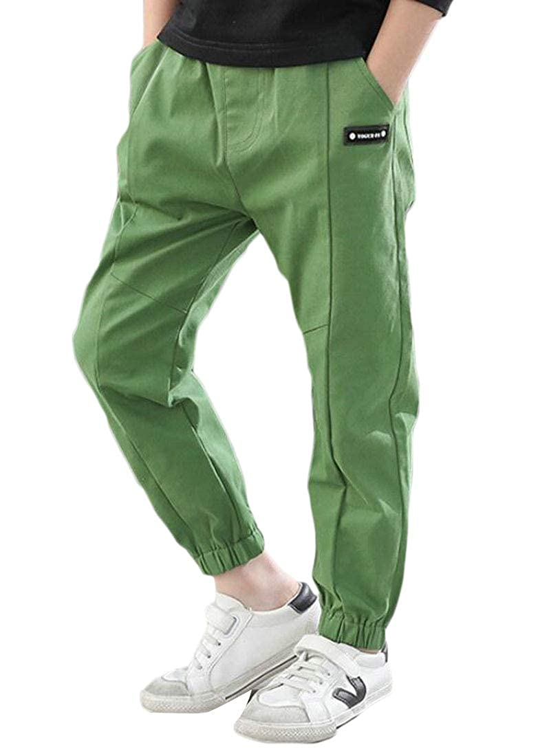 Pandapang Boys Slim Fit Solid Drawstring Cute Jogging Pants