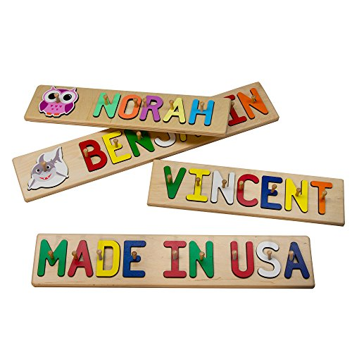 South Bend Woodworks Whimsical Character Wooden Name Peg Puzzle - 10-12 Characters (Including Spaces)
