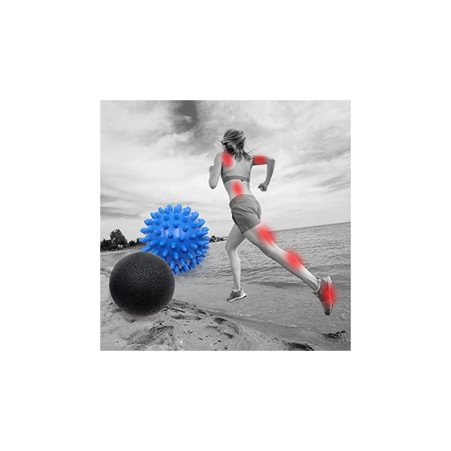 KMMIN Spiky Massage Ball, Massage Ball Roller Set Lacrosse and Foot Spiky Ball Perfect for Plantar Fasciitis, Foot, Back, Neck, Deep Tissue Massage, Physical Therapy Equipment Includes Holder Bag