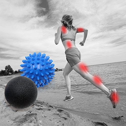 Spiky Ball For Massage Therapy, Kmmin Reflexology Balls Great for Plantar Fasciitis and Large Muscle Roller Ball for Deep Tissue Self Massage Yoga Free Bag …