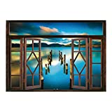 SCOCICI Removable Wall Sticker/Wall Mural/Scenery House Decor,Surreal Landscape with Wood Deck and Clouds in Sky Coastal Charm,Turquoise White/Wall Sticker Mural