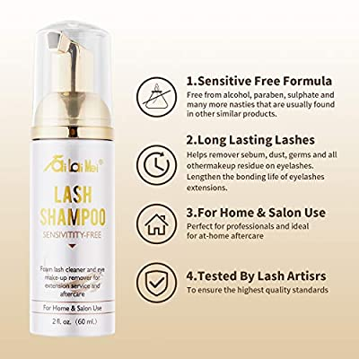 Eyelash Extension Shampoo Foam Cleanser with Brush (50ml) - Eyelid Foaming Cleanser - Sensitive Paraben & Sulfate Free - Makeup & Mascara Remover for Salon Use and Home Care