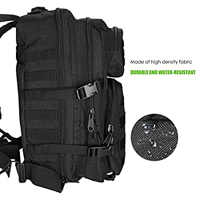 ProCase Military Tactical Backpack, 40L Large Capacity 3 Day Army Assault Pack Bug Out Bag Go Bag Rucksacks for Hunting, Trekking and Camping and Other Outdoor Activities - Black