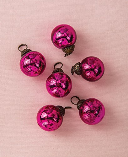 Luna Bazaar Mini Mercury Glass Ornaments (Ava Classic Ball Design, 1-1.5 Inches, Fuchsia Pink, Set of 6) - Vintage-Style Mercury Glass Christmas Ornaments ()