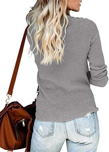 Deerludie /& T Womens V Neck LooseTops Stripe Sweater Pullover Knitwear Batwing Sleeve Blouse