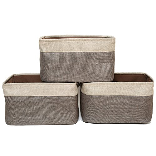 (ScoutJump 3-Pack Foldable Storage Bin Basket Collapsible Cotton Canvas Jute Fabric Storage Bin Basket Set w/Handles - for Home Office)