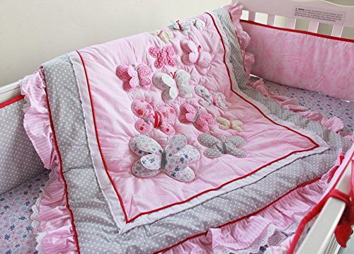 NAUGHTYBOSS Girl Baby Bedding Set Cotton 3D Embroidery Butterfly Flying Pattern Quilt Bumper Bed Skirt Mattress Cover Diaper Bag 8 Pieces Set Pink Color by NAUGHTYBOSS (Image #4)