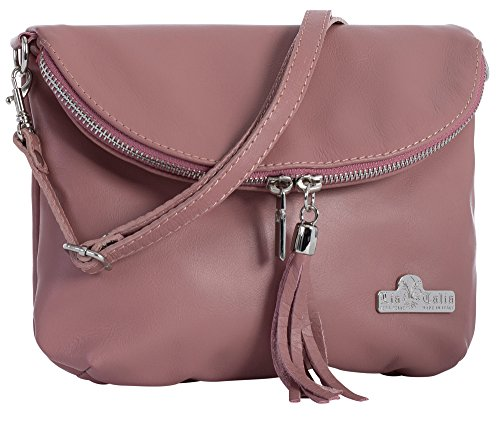 Small Soft Leather Shoulder Mini Pastel Real Bag Size Italian Cross Messenger Body AMY Pink LIATALIA HEnavwq4x