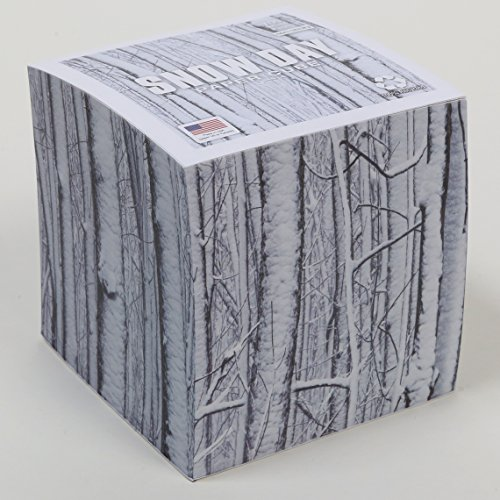 "Snow Day Note Cube (paper 60# weight) with 700 white tear-off pages NOT LOOSE PAGES, NOT STICKY, Made in USA (paper US or Canada) 100% Recycled 3.5"" x 3.5"" x 3.5"""