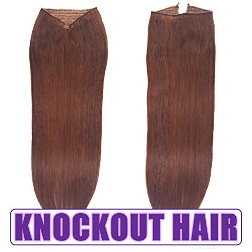 "Price comparison product image Fits like a Halo Hair Extensions 16""-18"" - No Clips, No glue, No Tape, No Damage! It's so EASY! 100% Remy Premium Couture Grade AAAAA Human Hair! (Dark Auburn 16"" #33)"