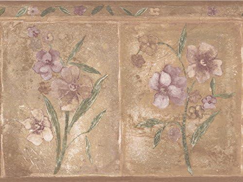 """紫のベージュの花ブラウン壁紙ボーダー長方形幾何学的デザインロール15 'x 8 """""""