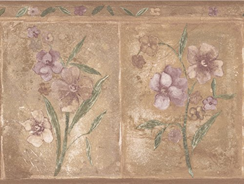 Purple Beige Flowers Brown Wallpaper Border Rectangular Geometric Design, Roll 15' x 8'' ()