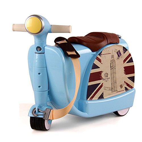 (《미야레》)miyare 다기능 키즈 어린이 통학 캐리어 케이스 휴대용 케이스 가방 슈트 케이스 캐리 백 초경량 여행 가방 아웃도어 소풍 여행 승용 장난감 멋쟁이 세련된 수납 가방 (블루)