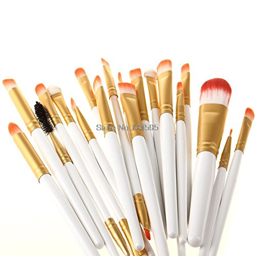 Maxry Hot Selling 20pcs White with Gold Eyeshadow Brush Make