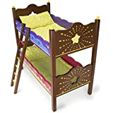 "Imagination Generation Star Bright Colorful Bunk Beds Furniture with Bedding, Turns into 2 Twin Beds & Fits 18"" American Girl Dolls, Stuffed Animals, Baby Dolls"
