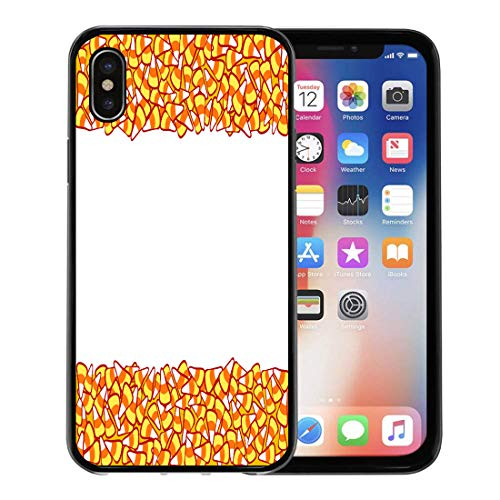 Emvency Phone Case for Apple iPhone Xs Case/iPhone X Case,Colorful Abstract Candy Corn Double Border White Halloween Sketchy Soft Rubber Border Decorative, Black