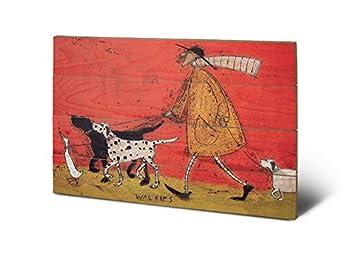 Wooden Wall Multi-colour 40 x 59cm The Art Group Sam Toft Walkies Wood Print