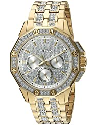 Bulova Mens  98C126  Swarovski Crystal Pave Bracelet Watch