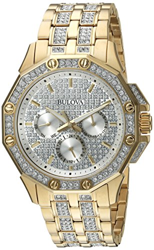 Bulova Men's  98C126  Swarovski Crystal Pave Bracelet (Pave Crystal Watch)