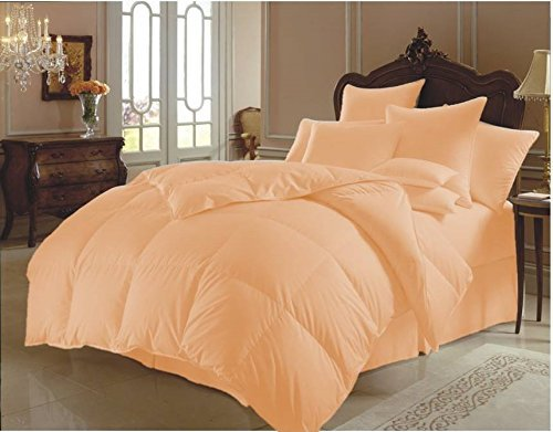 Sao's Silvalinen Natural Comfort Classic Goose Down Comforter 300 GSM 600 Thread Count with Duvet Set 100% Egyptian Cotton Solid King/Cal king, Peach by Sao's Silvalinen