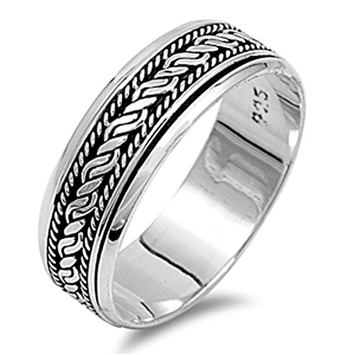 Rope Spinner Ring - Men's Spinner Wedding Ring .925 Sterling Silver Bali Rope Weave Band Size 10 (RNG15191-10)
