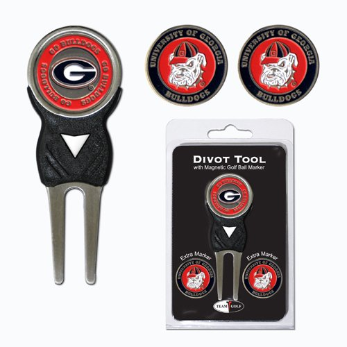NCAA Georgia Bulldogs Divot Tool Pack With 3 Golf Ball Markers Georgia Bulldogs Ball