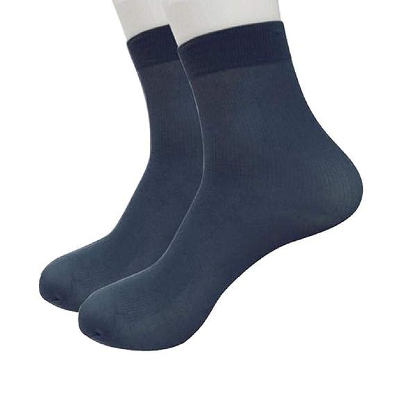 SHOBDW Hombres Unisex Calcetines largos, cómodos y suaves Fibra de bambú Ultrafina Elástica Seda corta Medias de seda Calcetines de algodón térmicos de ...