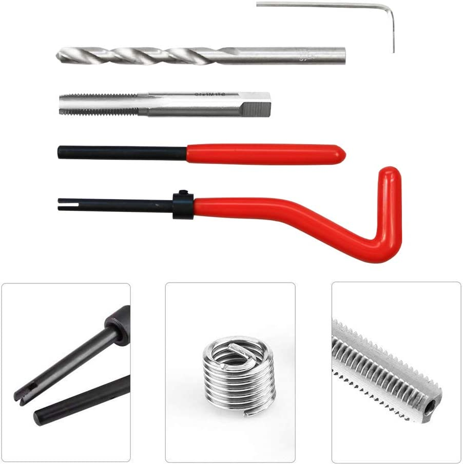 M7 x 1.0mm Metric Thread Repair Insert Kit Compatible Hand Tool Set for Auto Repairing M7-1.0 Highking Tool Thread Repair Kit