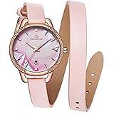 STARKING Fashion Elegant Quartz Women Leather Bracelet Watch 30M Water Resistant Auto Date Clover Design TM0912 Dress Lady Watch