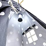 A Mustard Seed Toys Gray Polka Dot Kids Teepee Tent - Portable Cotton Canvas Tents with Carrying Case, Large Spots, Makes a Great Indoor Playhouse