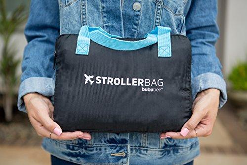 Bububee 'Elua XL Double Stroller Gate Check Travel Bag (Black & Aqua) by Bububee (Image #4)