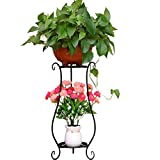ImageTimes Study 2 Tier Matel Plant Stand Rack Railing Display Stand Shelf Flower Pots Holder Decorative Metal Garden Patio Standing Scroll and Ivy Double Plant Stand (Small, Black) For Sale