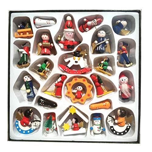 Amosfun 24 Piezas de Navidad de Madera Adornos Hechos a Mano en Miniatura árbol de Navidad Decoraciones del Partido Navidad...