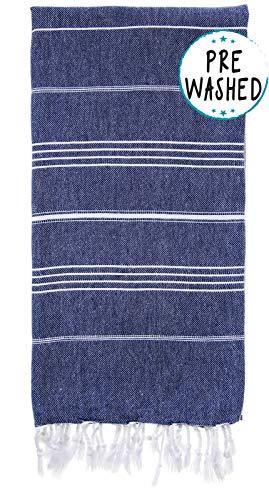 WETCAT Original Turkish Beach Towel (39 x 71) - Prewashed Peshtemal, 100% Cotton - Highly Absorbent, Quick Dry and Ultra-Soft - Washer-Safe, No Shrinkage - Stylish, Eco-Friendly - [Dark Blue]