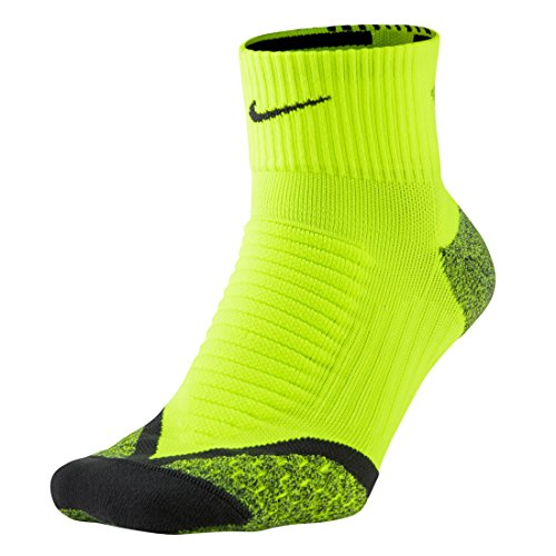 Nike Elite Cushioned Quarter Sock, Voltage Green/Anthracite, M 8-9.5